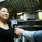Celebrity Chef Debbie Lee getting interviewed by NY1