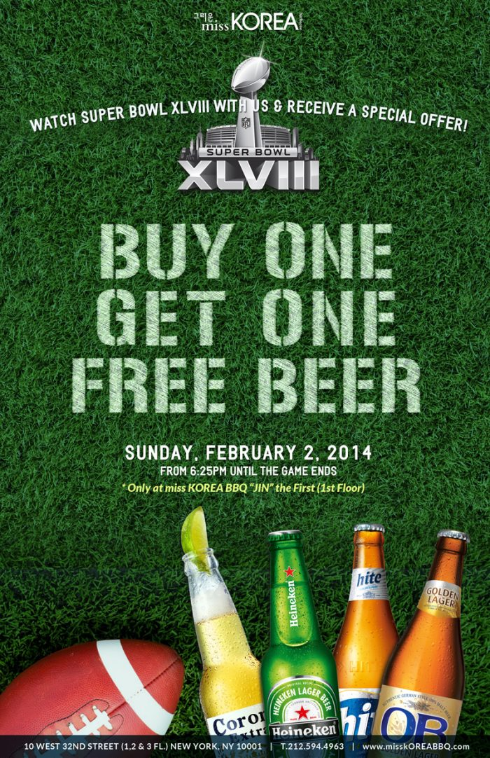 Watch 2014 The Super Bowl Xlviii At Miss Korea Bbq With Bogo Beer