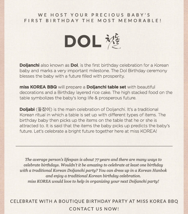 miss KOREA BBQ presents: Doljanchi 1st Birthday Celebration
