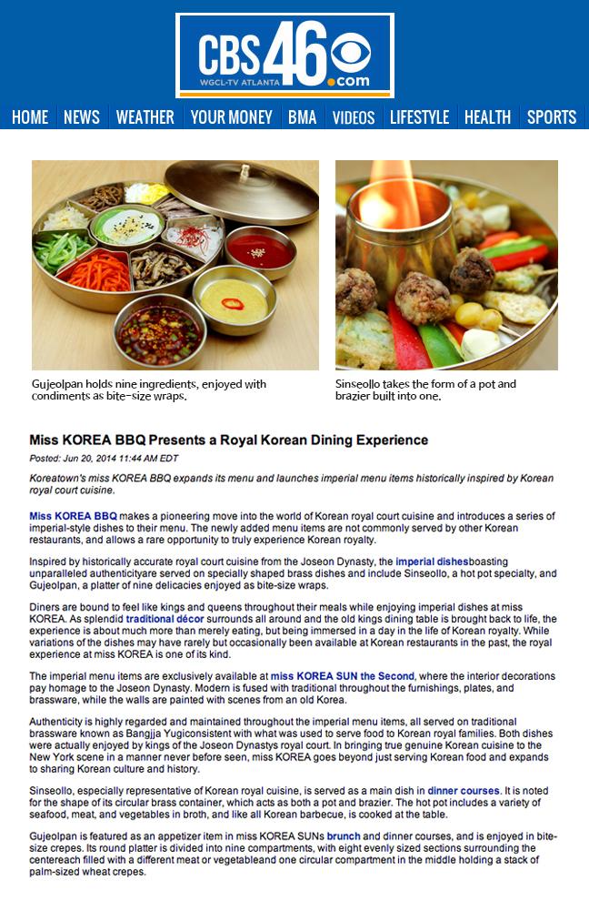 miss KOREA BBQ Imperial Dishes Featured on CBS 46 - miss KOREA BBQ