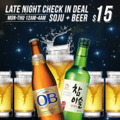 Late Night Check In Deal! Soju+Beer for $15