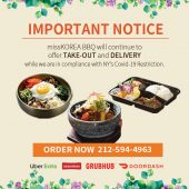 Important Notice: Take-Out and Delivery Only